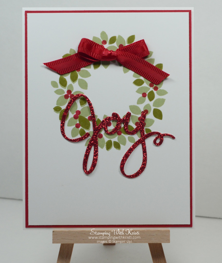 Stampin Up Wondrous Wreath card by Kristi @ www.stampingwithkristi.com