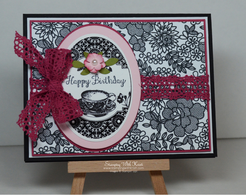 Stampin Up Tea Party Birthday Card by Kristi @ www.stampingwithkristi.com