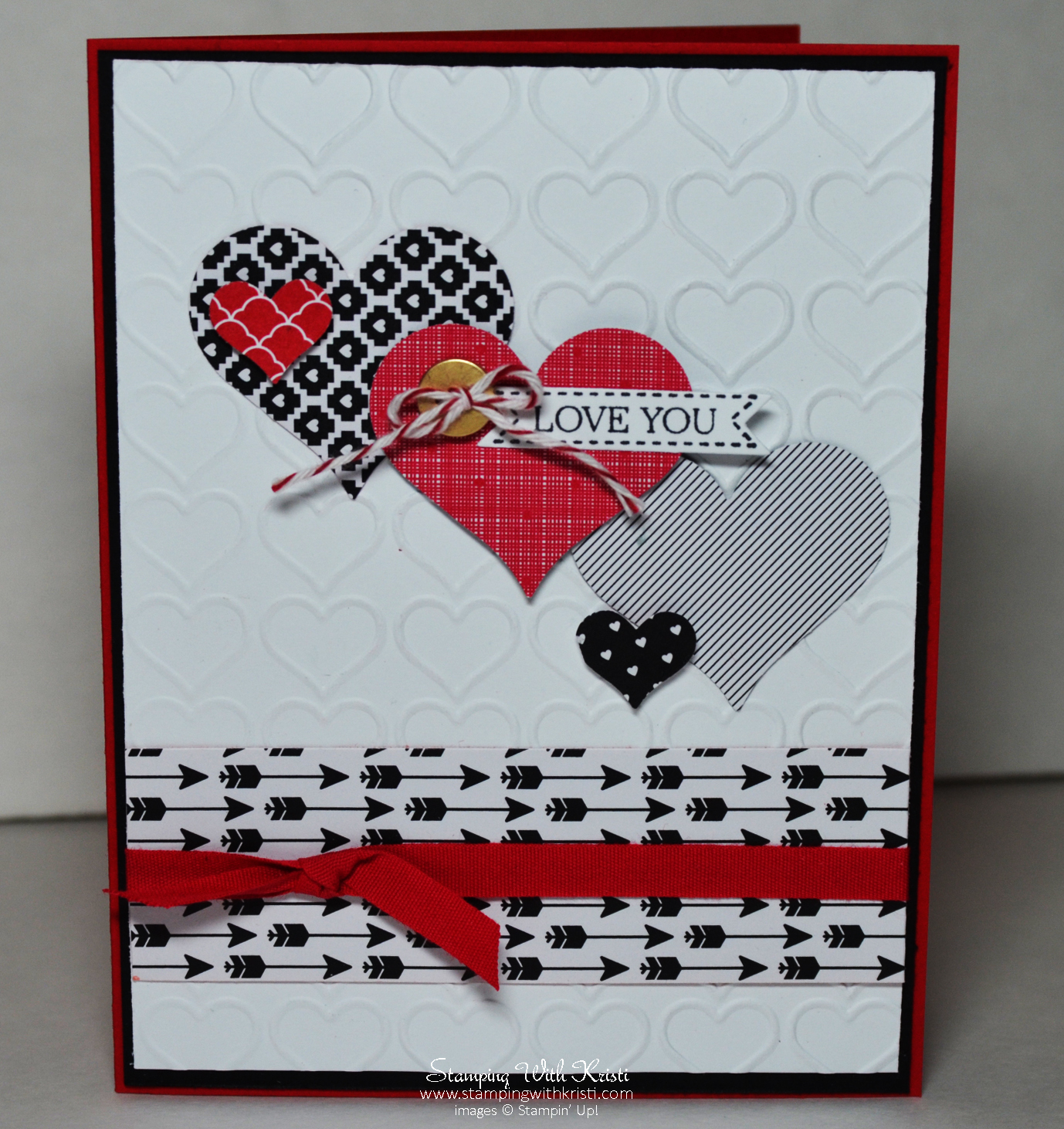 Stampin Up Stacked With Love Valentine Card