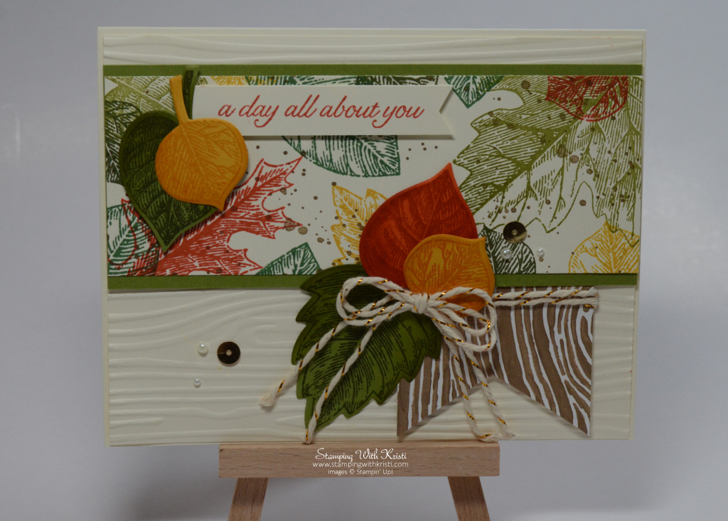 Stampin Up Vintage Leaves fall card by Kristi @ www.stampingwithkristi.com