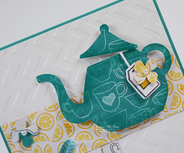 Cups and Kettles tea pot card by Kristi @ www.stampingwithkristi.com
