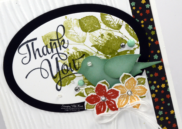 Stampin Up Bird Builder meets Botanical Blooms DSP card by Kristi @ www.stampingwithkristi.com