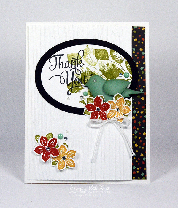 Stampin Up Bird Builder Punch meets Botanical Blooms DSP card by Kristi @ www.stampingwthkristi.com