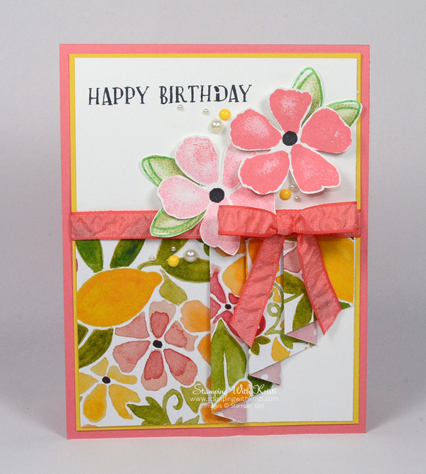 Stampin Up Drapery Fold Fruit Stand card by Kristi @ www.stampingwithkristi.com