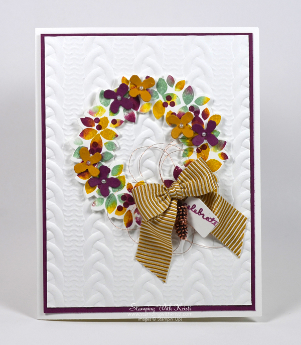 Stampin Up Wondrous Wreath & Cable Knit Embossing Folder card by Kristi @ www.stampingwithkristi.com