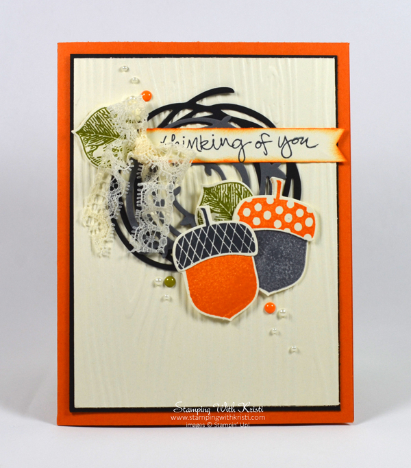 Stampin Up Acorny Thank You & Swirly Scribbles card by Kristi @ www.stampingwithkristi.com