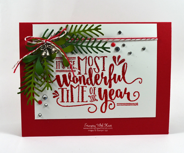 Stampin Up Wonderful Year and Pretty Pines card by Kristi @ www.stampingwithkristi.com