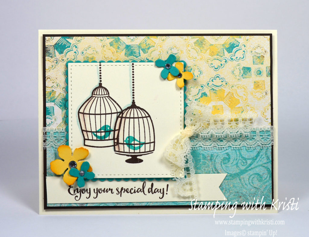 Stampin Up Builder Birdcage card by Kristi @ www.stampingwithkristi.com