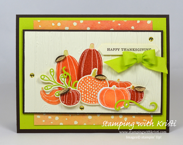 Fall card, Stampin Up, Pick a Pumpkin, card by Kristi Gray
