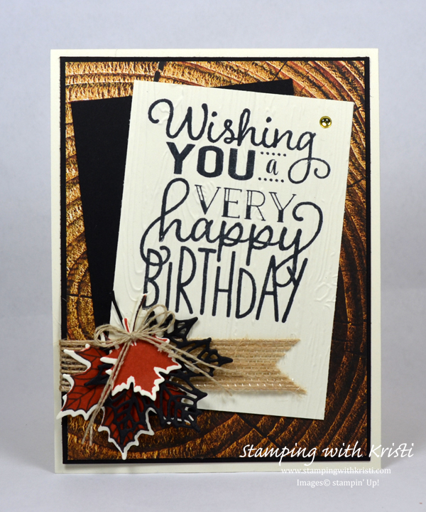 Stampin' Up! Wood Texture card by Kristi @ www.stampingwithkristi.com
