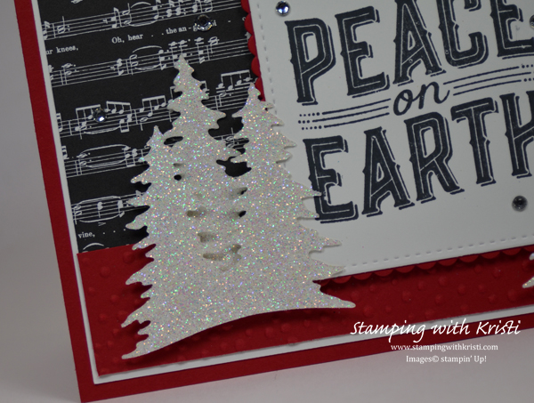 Stampin' Up! Carols of Christmas using the Card Front Builder Thinlits card by Kristi @ www.stampingwithkristi.com