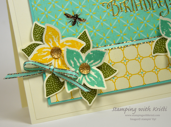 Stampin' Up Tea Room and Pop of Petals card by Kristi @ www.stampingwithkristi.com