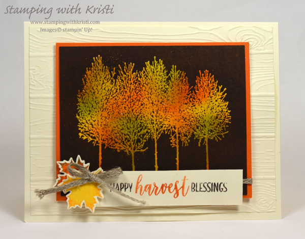 Stampin; Up! Winter Woods and the Joseph Coat technique card by Kristi @ www.stampingwithkristi.com