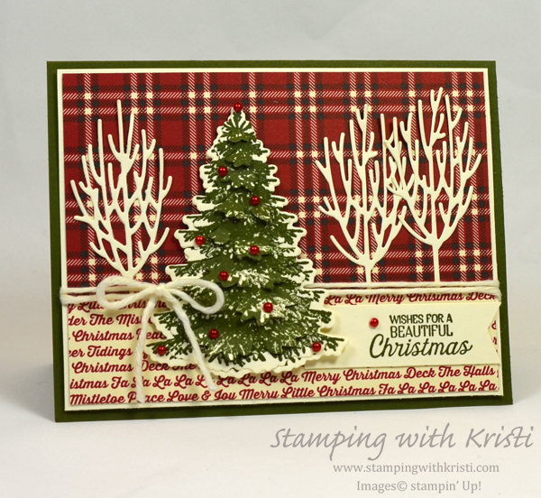 Winter Woods and Festive Farmhouse card by Kristi @ www.stampingwithkristi.com