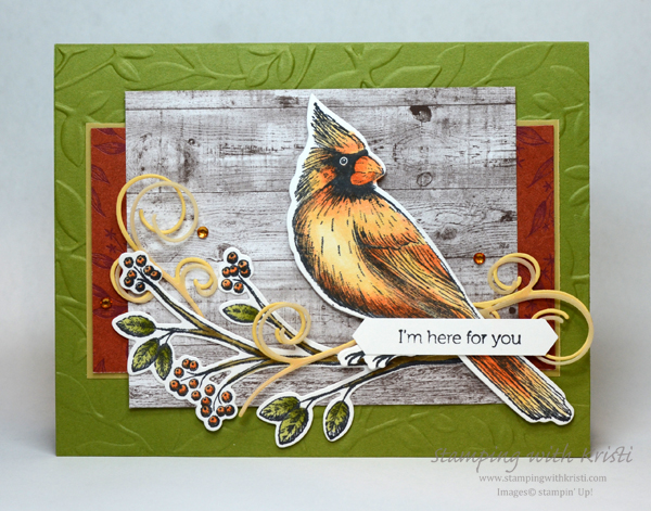 Stampin' Up! Toile Christmas with fall colors card by Kristi @ www.stampingwithkristi.com